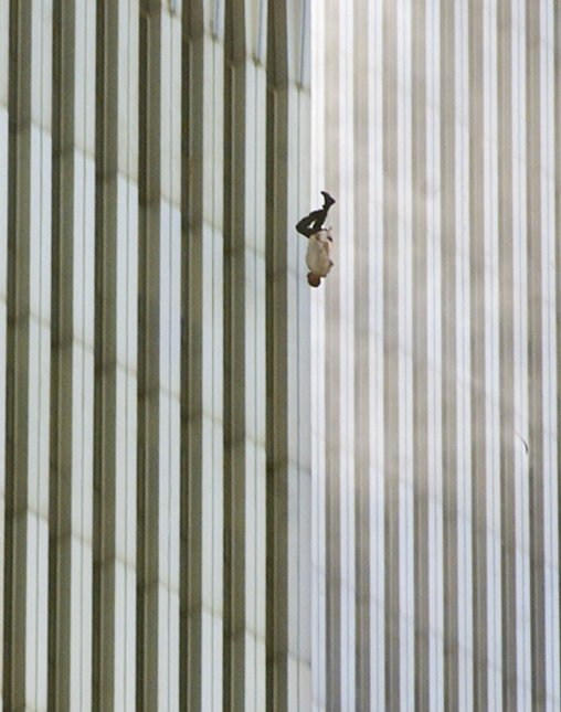 A man falls from the North Tower of the World Trade Center at 9:41:15 a.m. during the September 11 attacks in New York City. Photo: Richard Drew/AP
